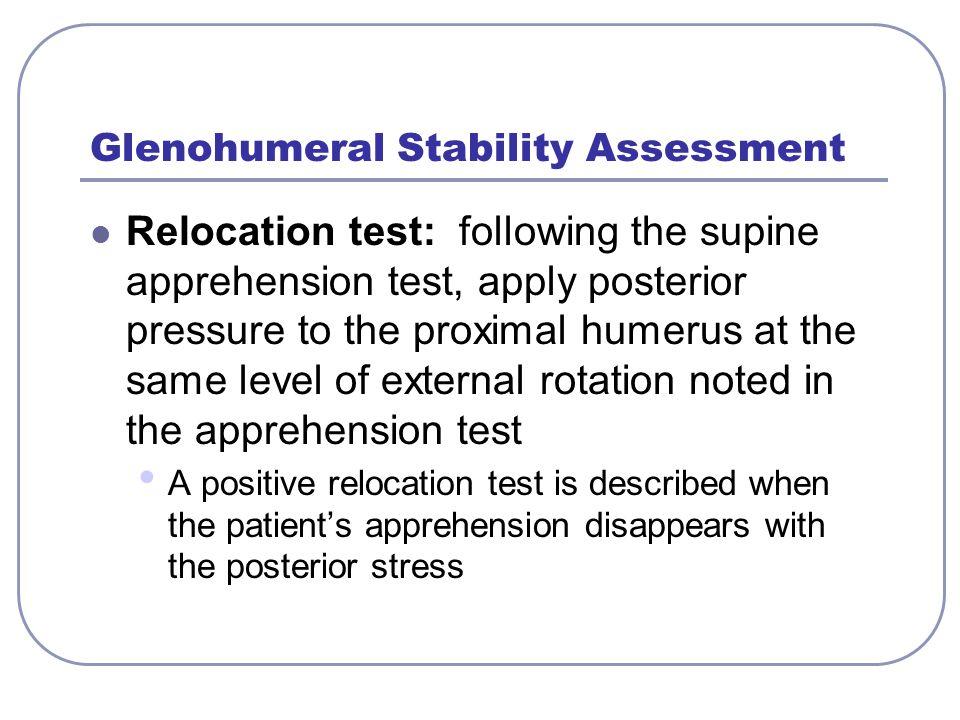Glenohumeral Stability Assessment