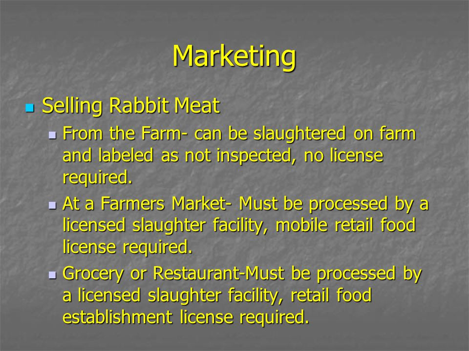 Marketing Selling Rabbit Meat