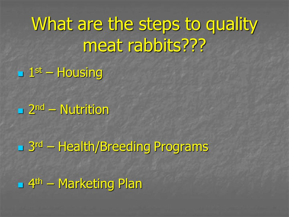 What are the steps to quality meat rabbits