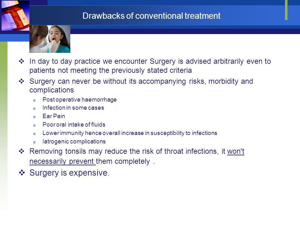 Drawbacks of conventional treatment