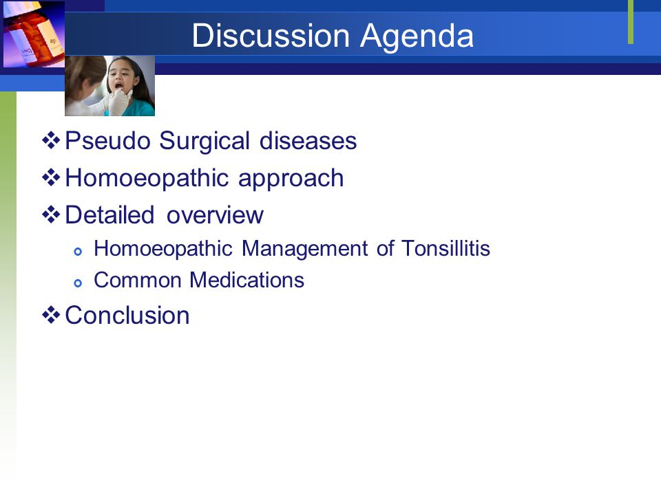 Discussion Agenda Pseudo Surgical diseases Homoeopathic approach