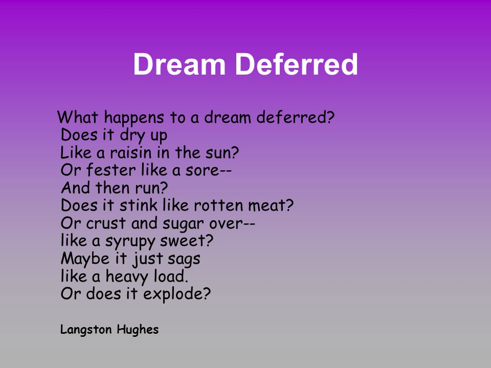 dream deferred analysis essay A dream deferred: harlem essay example - the 'dream deferred' was a prolonged, deferred, and exasperated dream of african americans the dream of triumphing over prejudice and inequality and achieving freedom and justice.