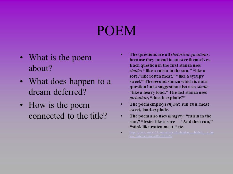 POEM What is the poem about What does happen to a dream deferred