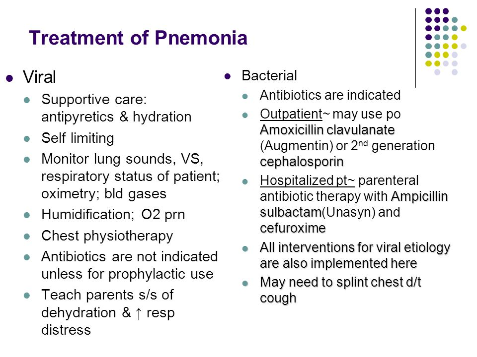 Treatment of Pnemonia Viral Bacterial