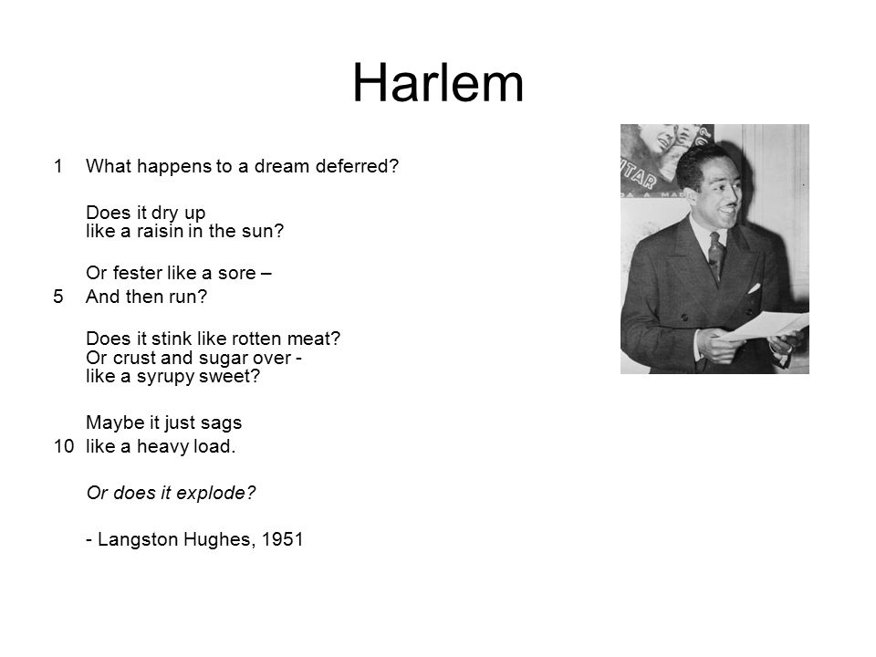 Harlem 1 What happens to a dream deferred