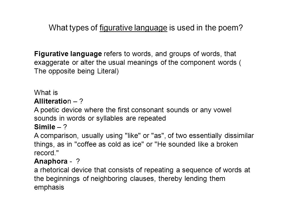 What types of figurative language is used in the poem