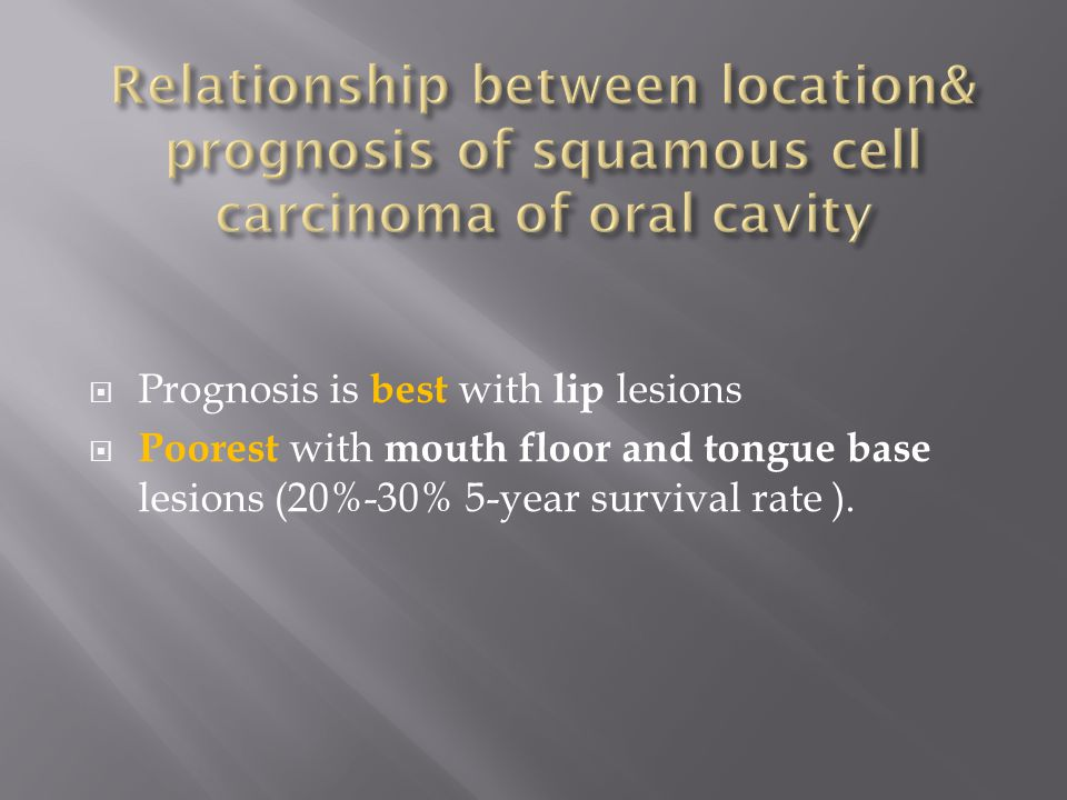 Relationship between location& prognosis of squamous cell carcinoma of oral cavity