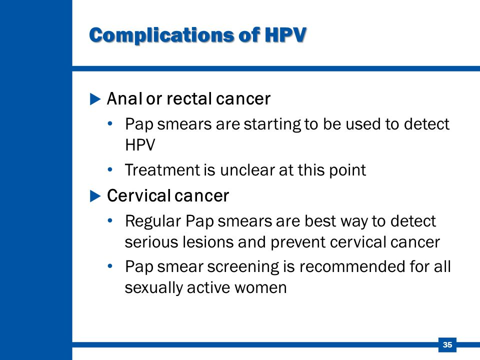 Complications of HPV Anal or rectal cancer Cervical cancer