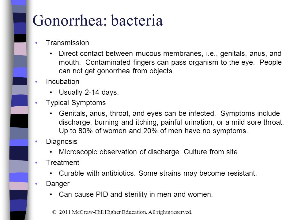 Gonorrhea: bacteria Transmission