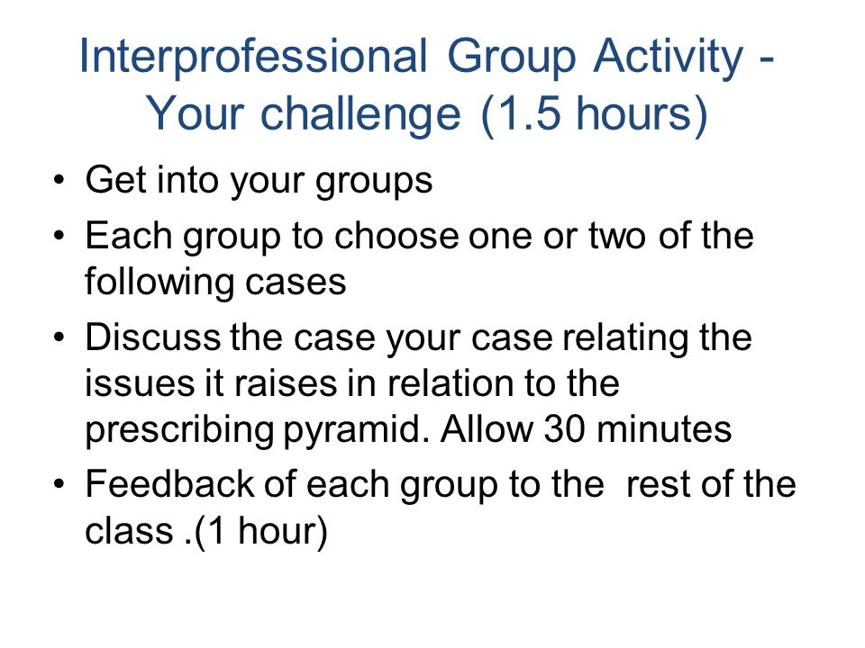 Interprofessional Group Activity - Your challenge (1.5 hours)