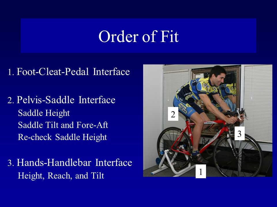 Order of Fit 1. Foot-Cleat-Pedal Interface 2. Pelvis-Saddle Interface