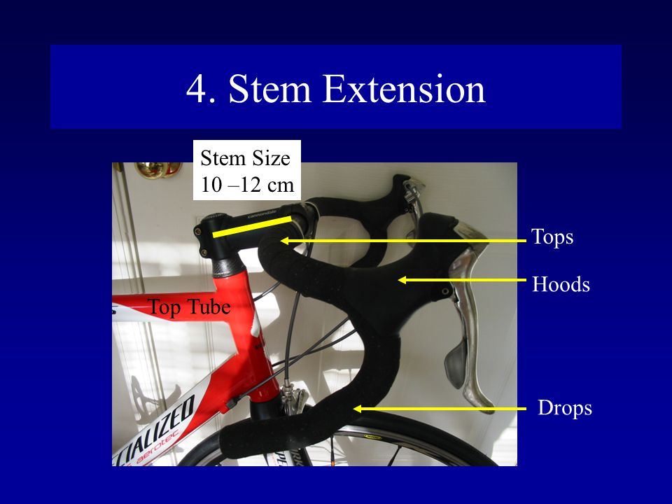 4. Stem Extension Stem Size 10 –12 cm Tops Hoods Top Tube Drops