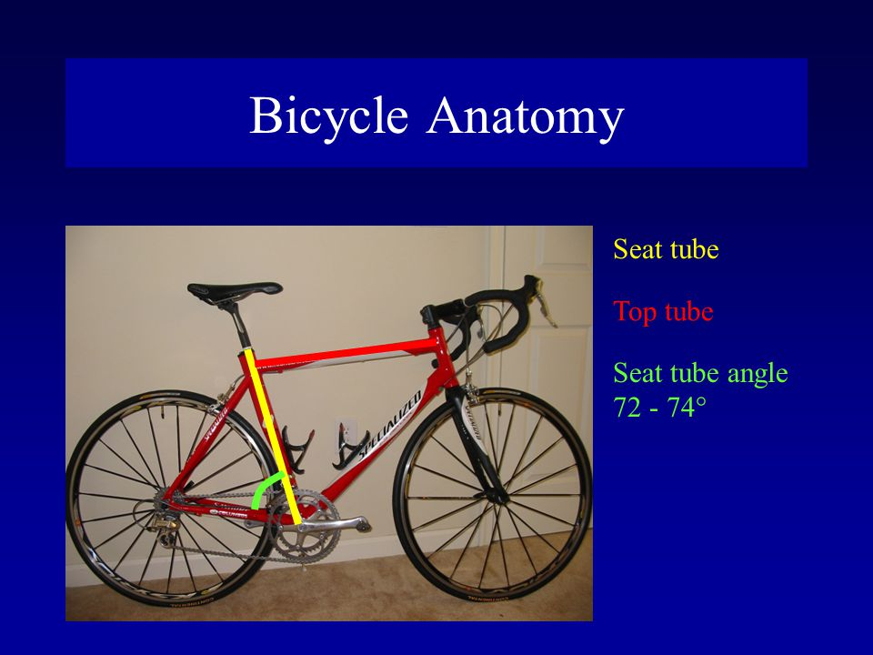 Bicycle Anatomy Seat tube Top tube Seat tube angle 72 - 74°