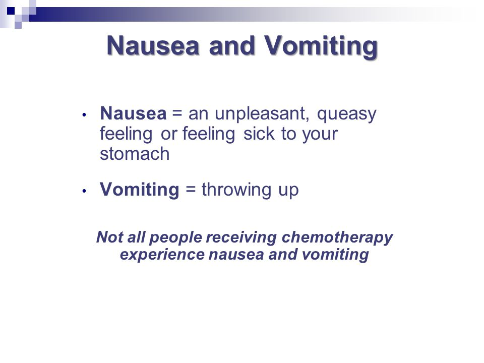 Not all people receiving chemotherapy experience nausea and vomiting