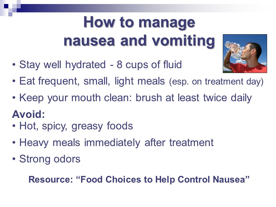 How to manage nausea and vomiting