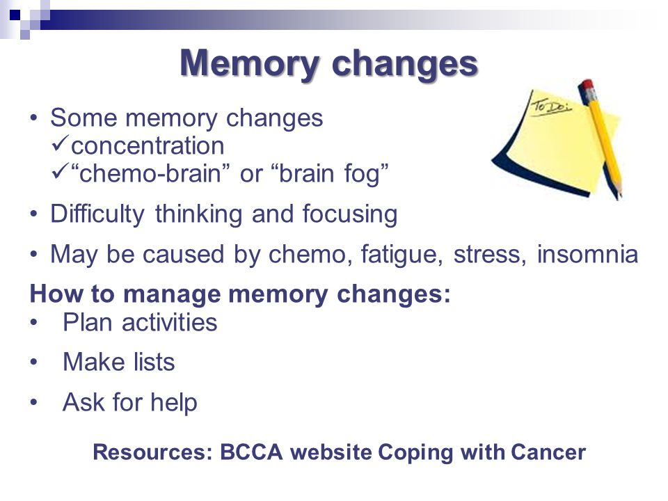 Resources: BCCA website Coping with Cancer