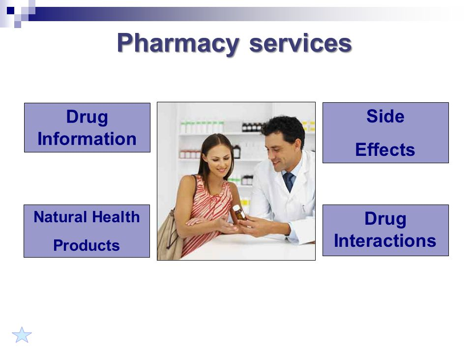 Pharmacy services Drug Information Side Effects Drug Interactions