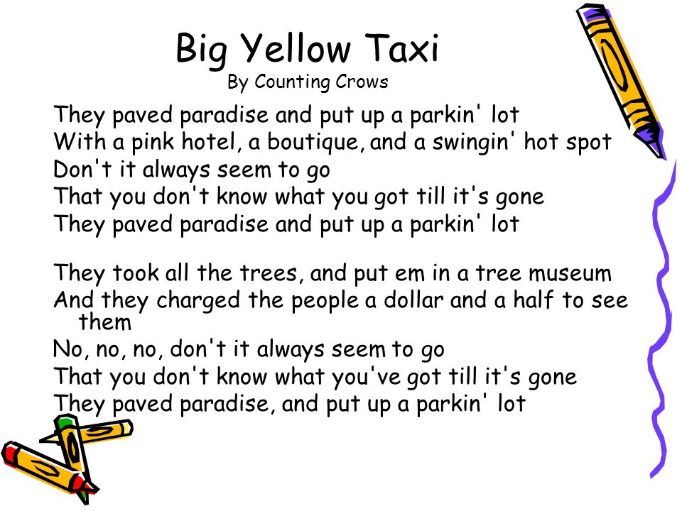 Big Yellow Taxi By Counting Crows