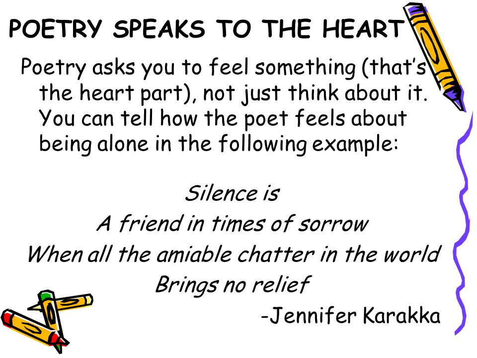 POETRY SPEAKS TO THE HEART