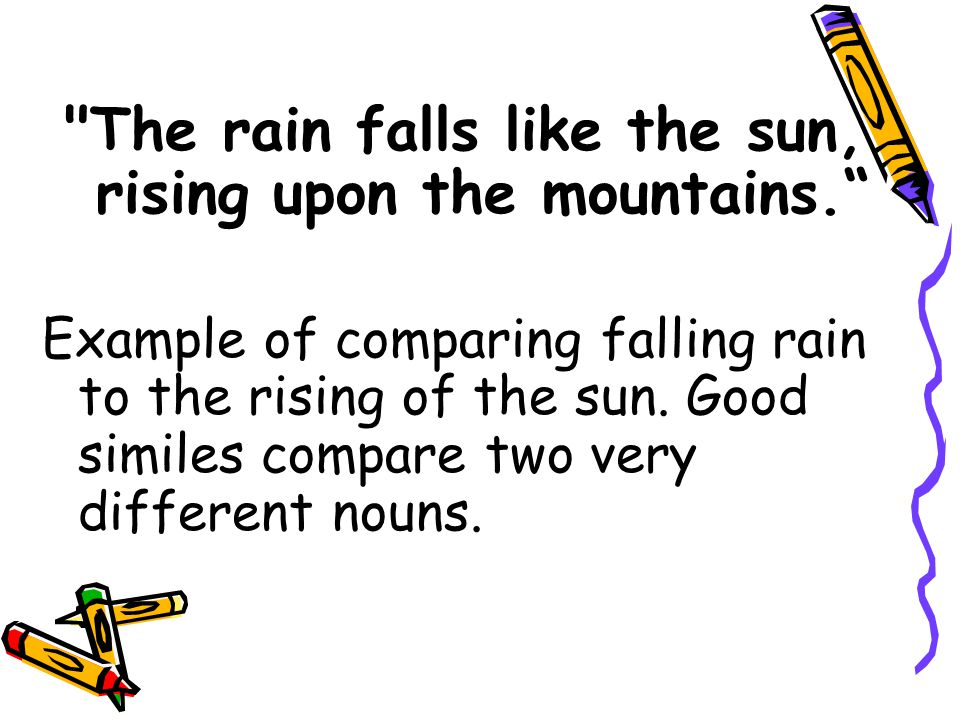 The rain falls like the sun, rising upon the mountains.