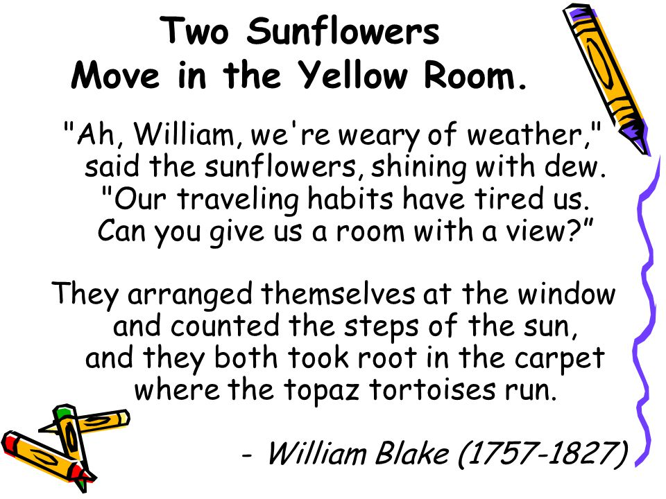 Two Sunflowers Move in the Yellow Room.