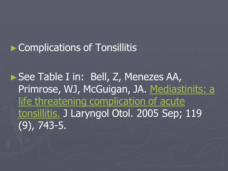 Complications of Tonsillitis