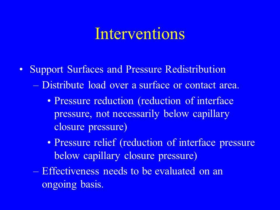 Interventions Support Surfaces and Pressure Redistribution
