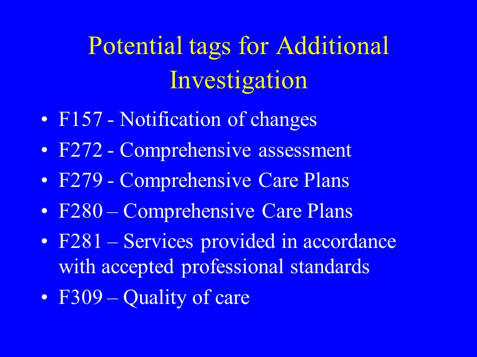 Potential tags for Additional Investigation