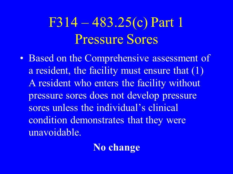F314 – 483.25(c) Part 1 Pressure Sores