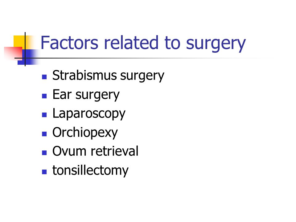 Factors related to surgery