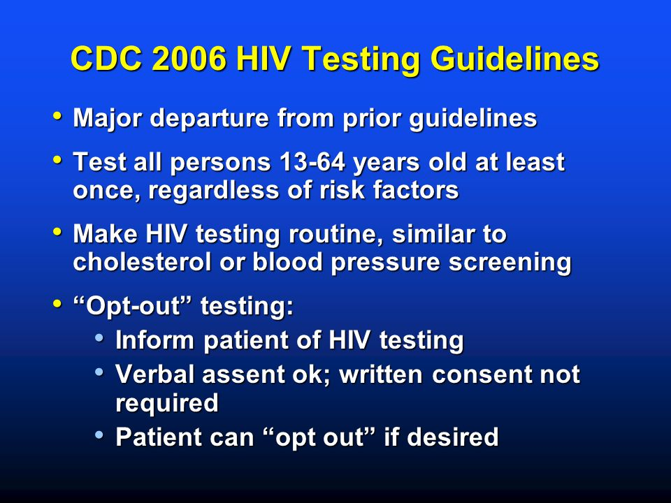 CDC 2006 HIV Testing Guidelines
