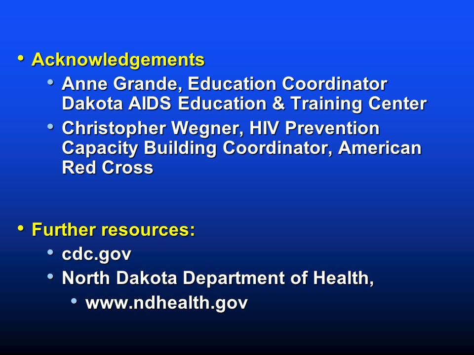 Acknowledgements Anne Grande, Education Coordinator Dakota AIDS Education & Training Center.