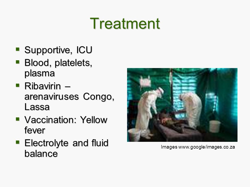 Treatment Supportive, ICU Blood, platelets, plasma