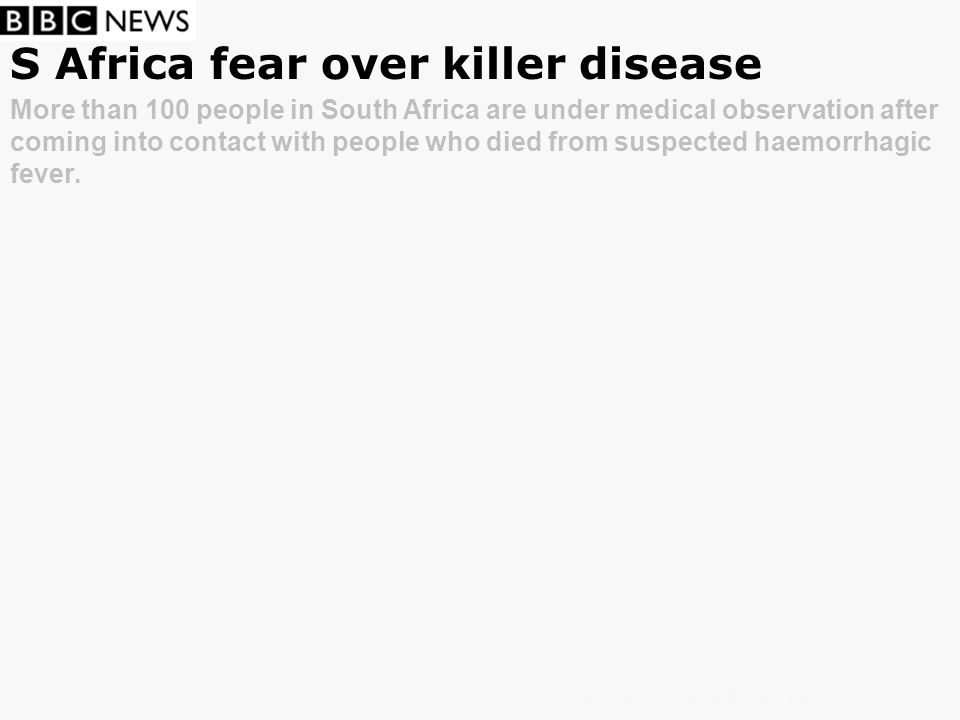 S Africa fear over killer disease