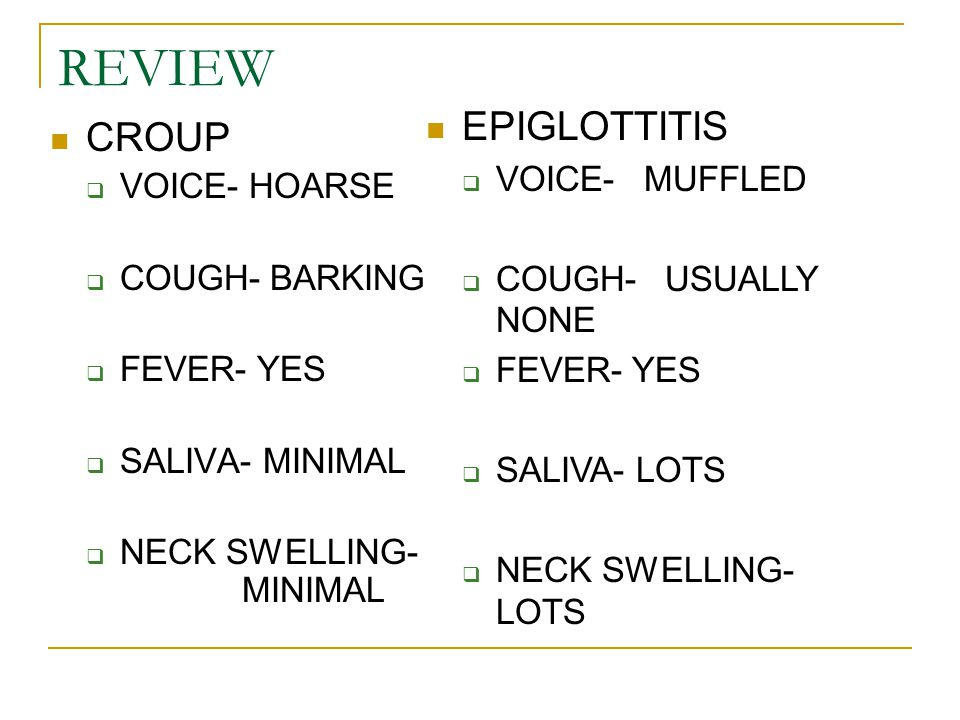 REVIEW EPIGLOTTITIS CROUP VOICE- MUFFLED VOICE- HOARSE