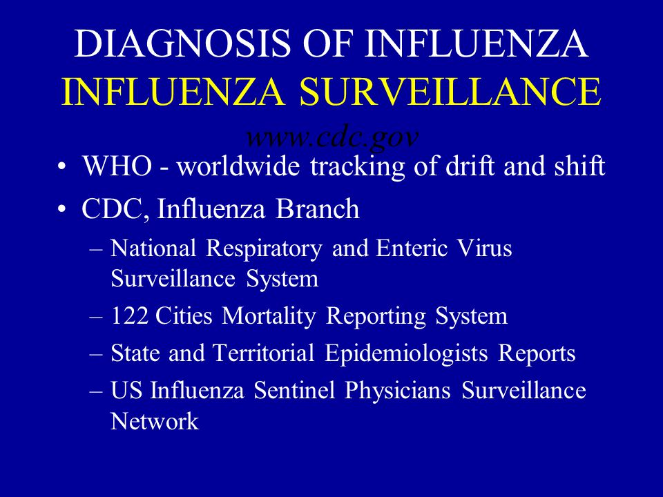 DIAGNOSIS OF INFLUENZA INFLUENZA SURVEILLANCE www.cdc.gov