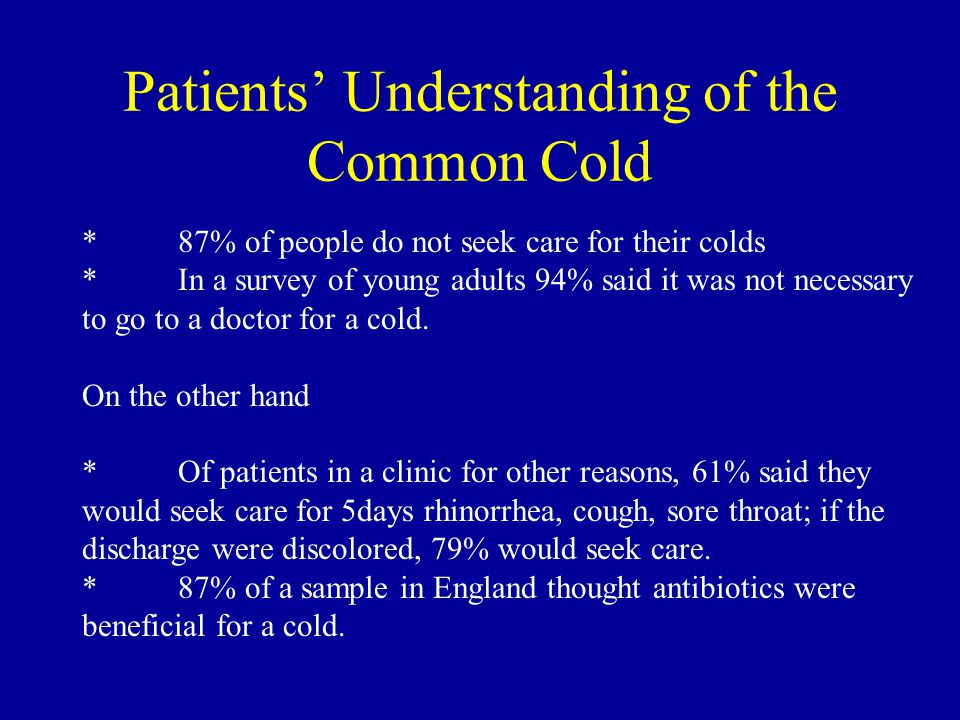 Patients' Understanding of the Common Cold