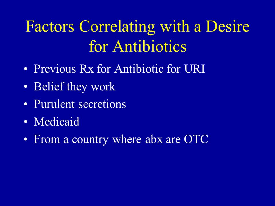 Factors Correlating with a Desire for Antibiotics