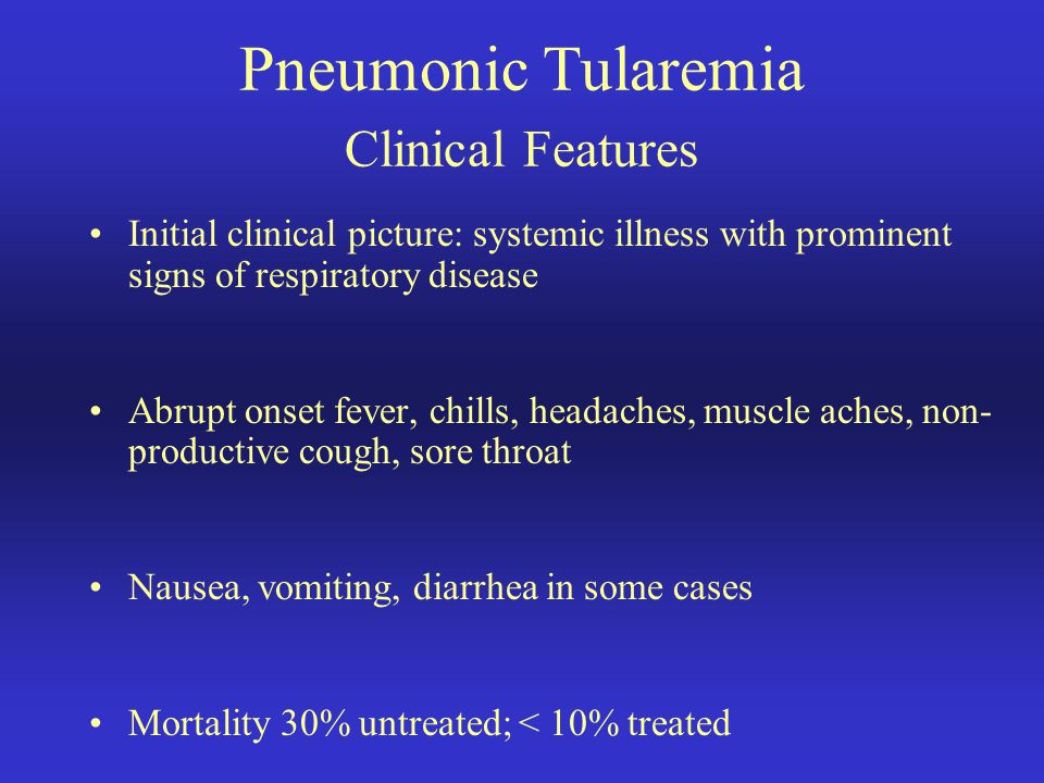 Pneumonic Tularemia Clinical Features