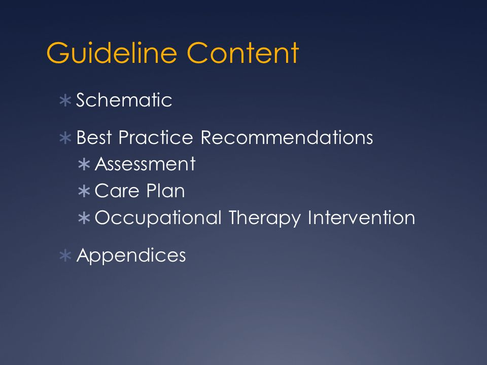 Guideline Content Schematic Best Practice Recommendations Assessment