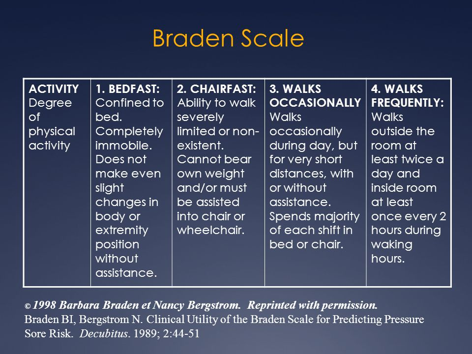Braden Scale ACTIVITY Degree of physical activity
