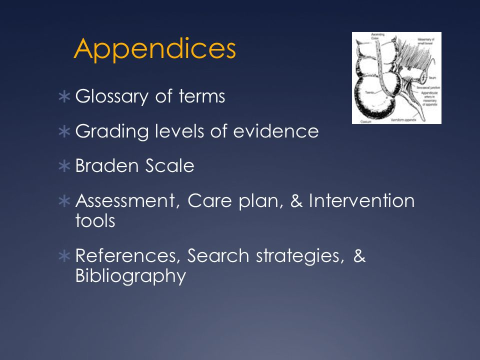 Appendices Glossary of terms Grading levels of evidence Braden Scale