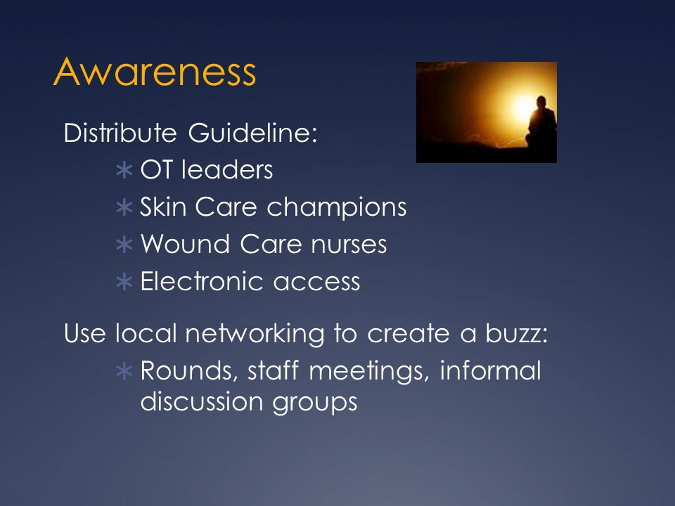Awareness Distribute Guideline: OT leaders Skin Care champions