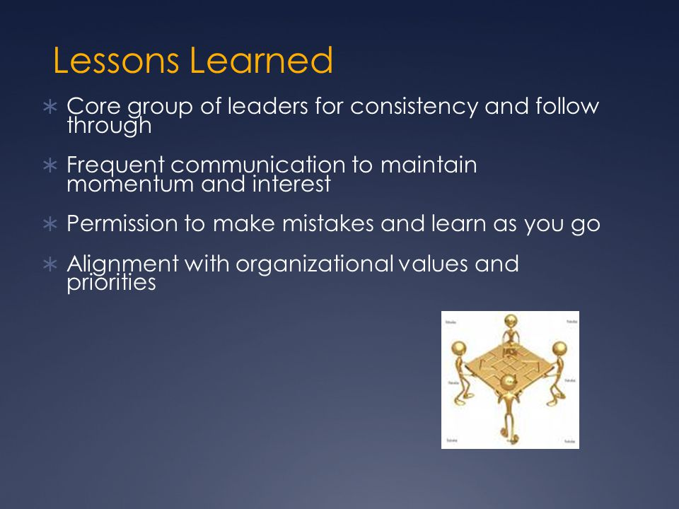 Lessons Learned Core group of leaders for consistency and follow through. Frequent communication to maintain momentum and interest.