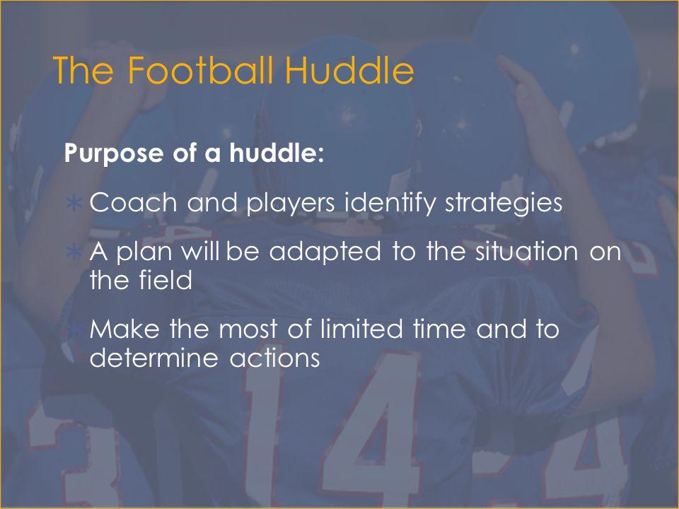 The Football Huddle Purpose of a huddle: