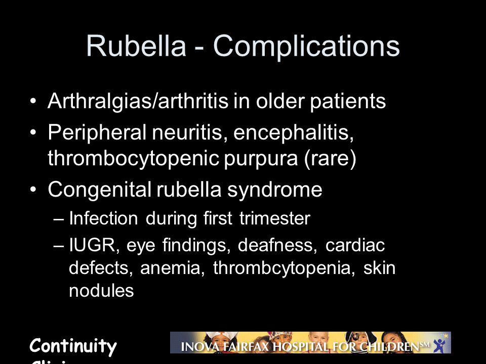 Rubella - Complications