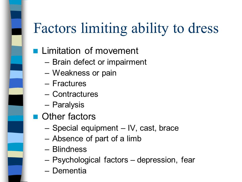 Factors limiting ability to dress