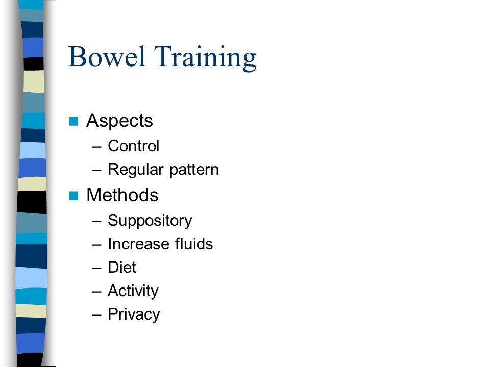 Bowel Training Aspects Methods Control Regular pattern Suppository