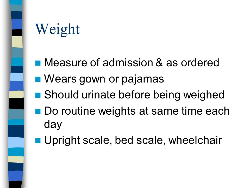 Weight Measure of admission & as ordered Wears gown or pajamas