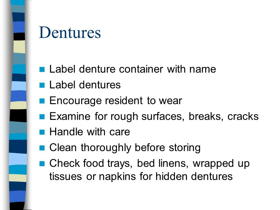 Dentures Label denture container with name Label dentures